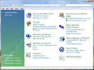 Windows Vista's brand new Control Panel