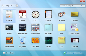Windows Vista's Gadget Gallery window