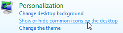 Show or hide common icons on the desktop in Windows Vista