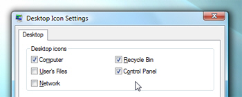 Display system icons on Windows Vista's desktop