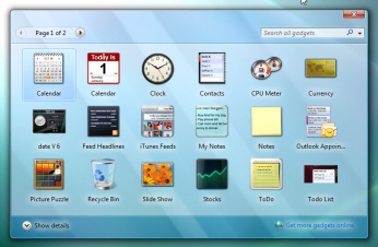 Windows Vista's Gadget Gallery application