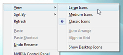 Customize icons size and dimension on the Windows Vista desktop
