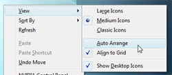 Auto Arrange desktop icons in Windows Vista
