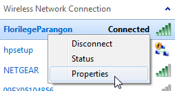 Access the properties and settings of a wireless connection