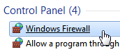 Access the Windows firewall settings in the Control Panel