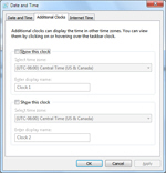 Additional Clocks settings and options in Windows 7