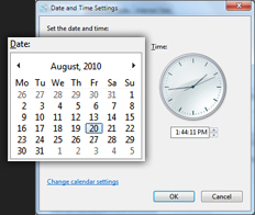 Change calendar date in Windows 7
