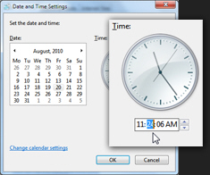 Change the hours, minutes, or seconds in the Windows 7 system clock