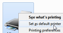 Change your default printer or print driver in Windows 7