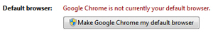 Check if Google Chrome is currently the default web browser in Windows 7