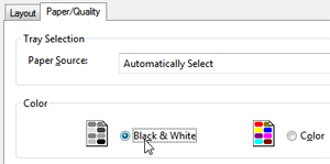 "Choose ""Black & White"" printing (no colors) in the Windows 7 the Print dialog"