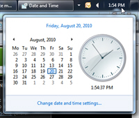 Click on the system clock to show a calendar with the current date