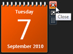 Close the calendar gadget to hide / remove it from your desktop