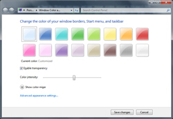 Color swatches, color mixer and custom settings in Windows 7