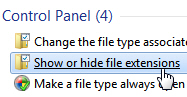 Configure Windows 7 to show or hide file extensions