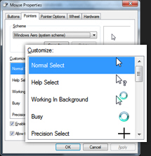 Customize / change mouse pointer (cursor) scheme / theme in