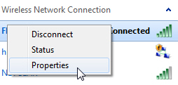 Customize the properties of a wireless connection in Windows 7