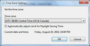 Customize current time zone setting in Windows 7