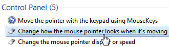Customize mouse pointer movement options in Windows 7