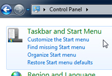 Customize start menu options from the Windows 7 Control Panel