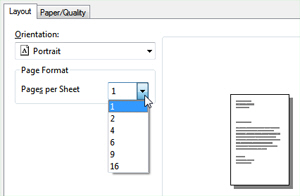 Customize the number of pages to print on a sheet of paper