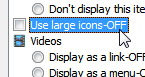 Customize to use small icons or large icons in your start menu