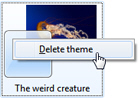 Delete the selected theme in Windows 7