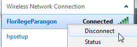 Disconnect from a wireless network in Windows 7