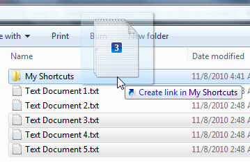 Drag shortcuts to another folder in Windows Explorer