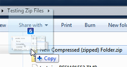 Drop files and folders in a zip file / compressed folder