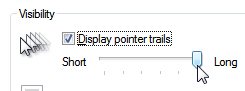 Enable pointer trails setting for your mouse cursor