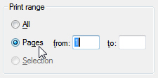 Enter a page range printing option in your Windows 7 Print dialog