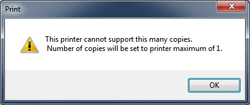 Error message when trying to print multiple copies in Windows 7