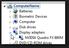 Expand display adapters to show the video graphics card