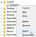 Export custom cursor themes from the registry