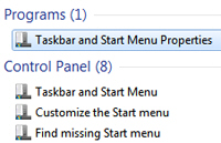 Find start menu settings to configure from the Windows 7 start menu itself