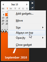 Force the calendar gadget to stay above other programs