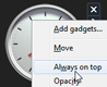 Force the clock gadget to stay on top in Windows 7