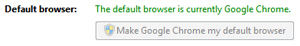 Google Chrome confirming that it is currently the default Windows 7 browser
