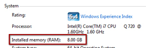 How much RAM Memory is installed on your computer (Windows PC)