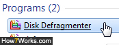 Launch Disk Defragmenter in Windows 7