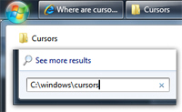 Locate the Cursors / Mouse pointers folder from the start menu in Windows 7