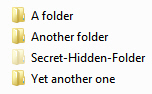 Looking at a hidden folder in Windows Explorer for Windows 7