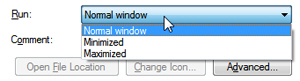 Make shortcuts start minimized or maximized in Windows 7