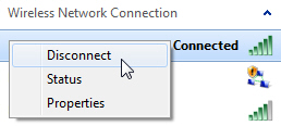 Manually disconnect from a wireless network connection in Windows 7