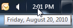 Move your mouse above the clock to show the current date