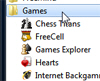 Navigate the start menu to the Games folder