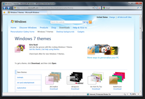 Official Windows 7 themes download page on Microsoft.com