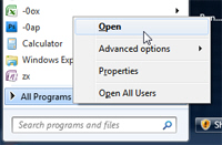 Open the All Programs folder of the start menu in Windows 7