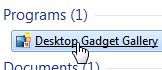 Open the Gadget Gallery to uninstall gadgets in Windows 7